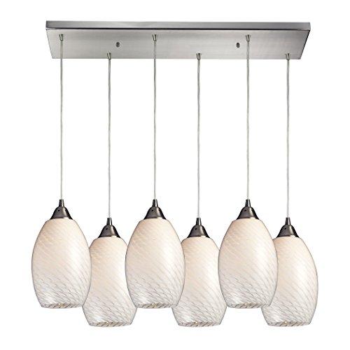 Alumbrada Collection Mulinello 6 Light Pendant In Satin Nickel And White Swirl Glass - Mulinello Collection Pendant