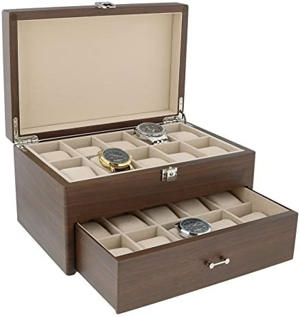 Natural Nogal Reloj Coleccionista Caja con Cajón para 20 Relojes ...