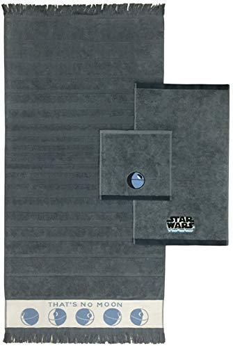 Star Bath Set - Star Wars Kids 3 Piece Bath Towel Set - Bath, Hand, Washcloth Set Featuring Millennium Falcon & Death Star - Super Soft & Absorbent Fade Resistant Cotton Towels (Official Star Wars Product)