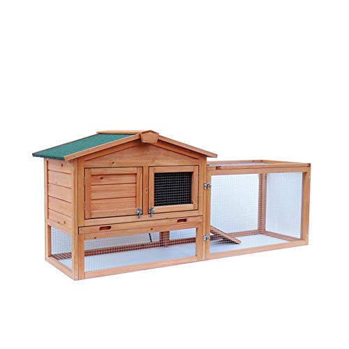 Price comparison product image Wooden Rabbit Hutch Cage Chicken Coop Waterproof Two-tier House Bunny Hen Pet Animal for Backyard