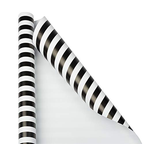 Matte Stripe (JAM PAPER Gift Wrap - Striped Wrapping Paper - 25 Sq Ft - Black & White Stripes - Roll Sold Individually)
