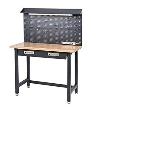 Seville Classics Lighted Hardwood Top Workbench - Dark Grey ()
