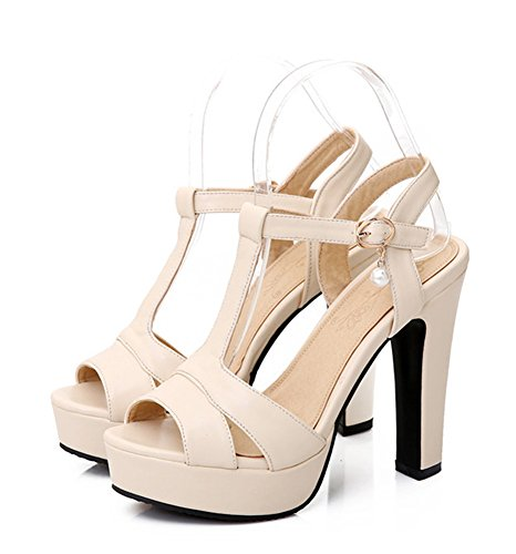 Aisun Kvinna Elegant Plattform Peep Toe T Rem Pärla Klänning Sandaler Beige