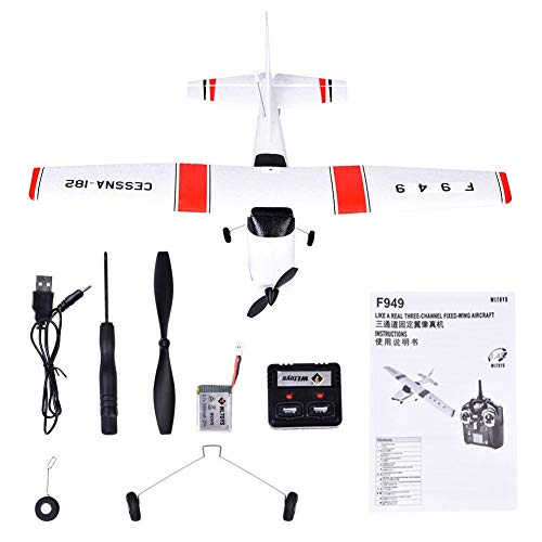 cherrysong 2.4 G Cessna-182 Drone, 3.7v 500mah 25c high-Rate Battery, 25 Minutes Flying Time, with Server Fixed Wing, Fun Gift for Kids Built-in USB ()