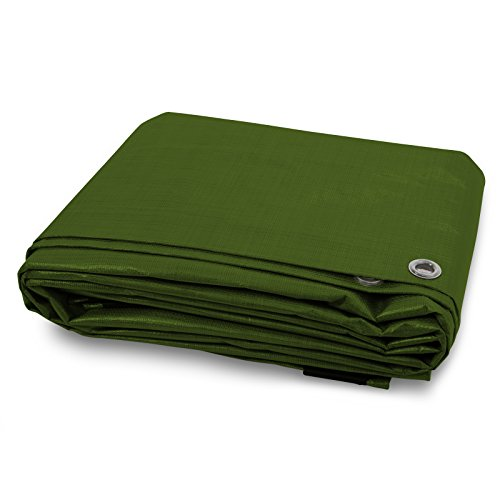 Heavy Duty Tarps | Waterproof Ground Tent Trailer Cover | Multilayered Tarpaulin in Many Sizes and Thicknesses | 10 Mil - Green - 10 x 18