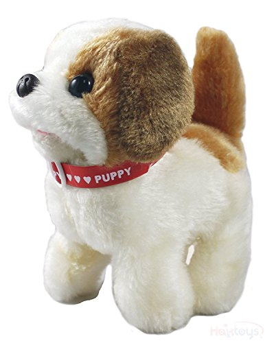 Haktoys Toy Puppy – Battery Operated Walking & Tail Wagging Plush Dog - Colors May Vary (Puppy Toys For Kids)