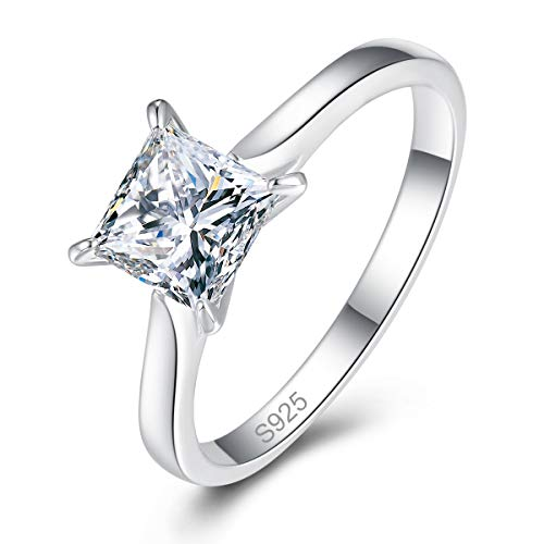 AVECON Silver Ring for Women, 925 Sterling Silver Princess Cut White Cubic Zirconia Solitaire Engagement Ring for Girls Simple Design (9)