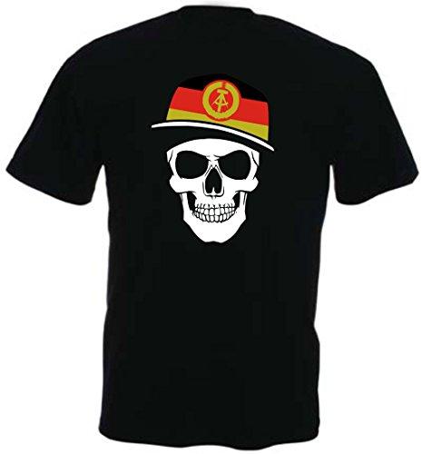 DDR Deutschland - T-Shirt - Skullz Fahne - Totenkopf schwarz