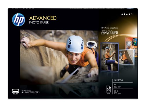 HP Photo Paper Advanced, Glossy, (13x19 inch), 20 sheets Advanced Photo