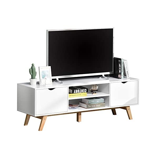 HOMCOM Meuble TV Bas sur Pied Style scandinave 2 Portes 2 niches Passe-Fils Panneaux Particules MDF Blanc Bois Massif…