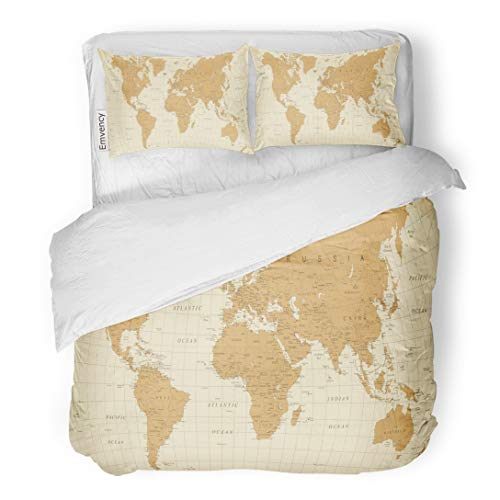 Tarolo Bedding Duvet Cover Set Beige Old World Map Vintage Detailed of  Worldmap Brown Abstract Africa Americas 3 Piece King 104\