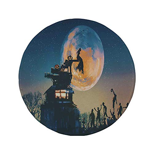 Non-Slip Rubber Round Mouse Pad,Fantasy World,Dead Queen in Castle Zombies in Cemetery Love Affair Bridal Halloween Theme,Blue -