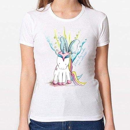 Positivos Camisetas Mujer/Chica - diseño Original Camiseta Unicornio - M: Amazon.es: Hogar
