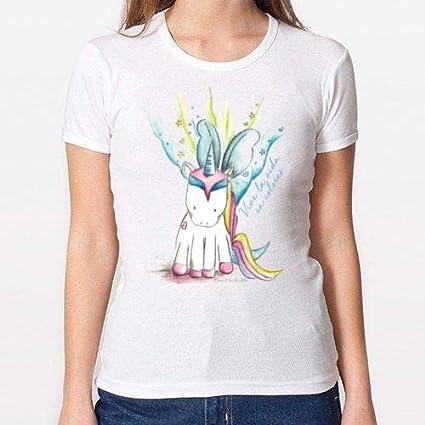 Positivos Camisetas Mujer/Chica - diseño Original Camiseta Unicornio - M