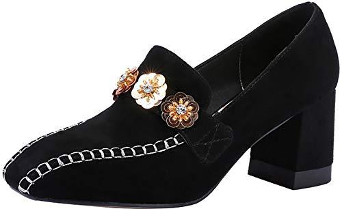 Mujer Arraysa 6 Qaicj tac Toe Square Zapatos de 5CM Ponerse dZx4Za