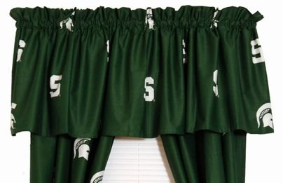 Michigan State Spartans 5 Piece Crib Set and Set of Two (2) Matching Window Curtain Valances - Entire Set includes: (1) Reversible Comforter, (1) Bed Skirt , (2) Fitted Sheets, (1) Bumper Pad and (2) Matching Window Curtain Valances - Decorate Your Nurser