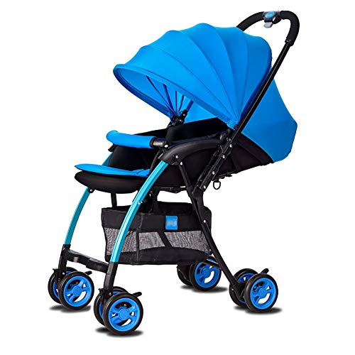 - MWPO Can Sit Or Lie Light One-Hand Folding Summer Breathable Baby Stroller Child Car Aluminum Alloy Two-Way Cart Multi-Function Baby Stroller Jogging Travel Color Optional (Color : Blue)