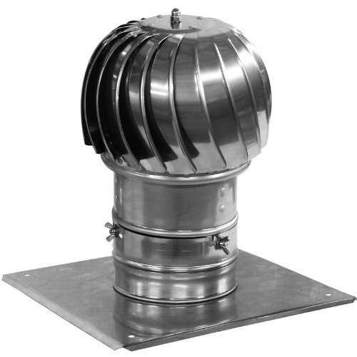 Chimney Flue Cowl Spinner Stainless Steel Plug-in Spinning Cowl 160mm diameter with Extra Roof Plate ()