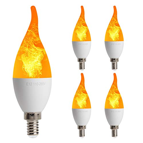 Three Light Candelabra - 4 Pack LED Simulated Fire Flicker Flame Candelabra Light Bulb, E12 Base 2W 1800K Warm White, 3 Modes (Emulation General Breathing) for Home Bar Party Decoration - Candle Flame Tip