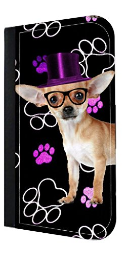 (Hipster Chihuaha with a Purple Top Hat-Pawprints - TM Samsung Galaxy S6 PU Leather and Suede Wallet Style Phone Case Made in the USA)