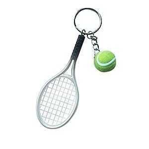 Mini-Tennisball Schläger Anhänger Schlüsselring Geschenk - Lila - Silber, medium
