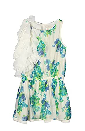 Richie House Girls' Green Blossoms Dress with Shoulder Ruffles RH0590-B-1/2