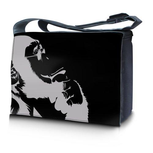 Luxburg® Design bolso bandolera de mensajero, de escuela bolso para portátil ordenadores Laptop Notebook 17,3 pulgadas, motivo: Erizo multicolor Chimpancé pensante