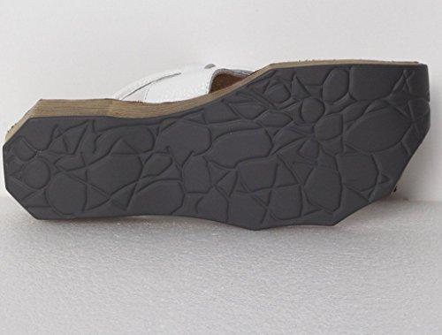 MatchLife Sandalen Zehentrenner Komfort Pantoletten Vintage Hausschuhe Leder Flach Slippers Freizeit Schuhe Blau