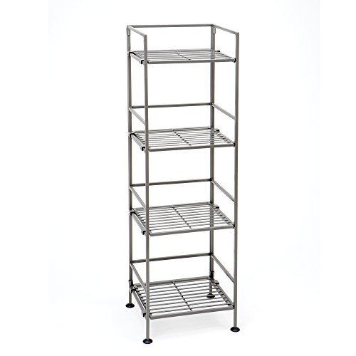 Seville Classics 4-Tier Iron Square Tower Shelving, Satin Pewter Satin Chrome Wire