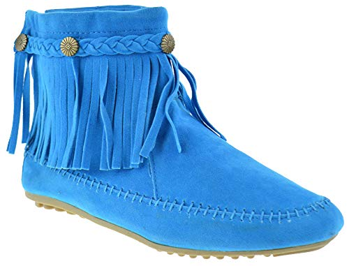 Nature Breeze Cherokee 01 Womens Fringe Moccasin Ankle Booties Blue 10