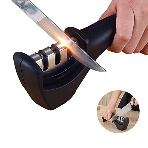 Knife Sharpener- Professional Kitchen Knife Sharpener 3 Stage Steel Diamond Ceramic Coated Kitchen Sharpening Tool with Cut Resistant Glove - Non-slip Base Chef Knife Sharpening Kit Easy to Control by HKSH