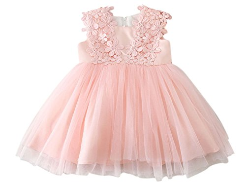Flower Girl's Pageant Dress Occasion Dress A-Line Scalloped Dress with Bowknot Baby Pink 12M