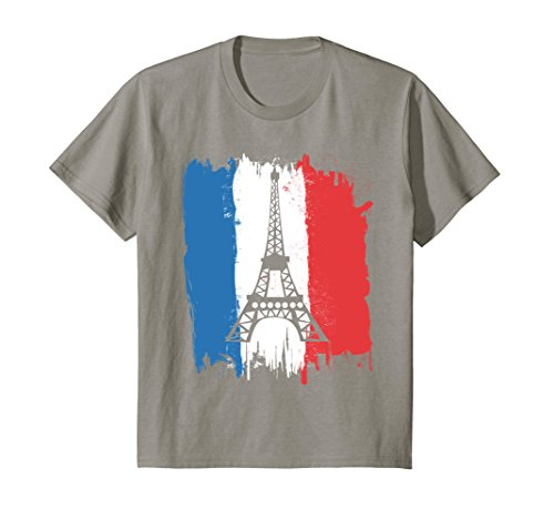 France Flag T-shirt (Kids French Flag T Shirt With Eiffel Tower for Men and Women 12 Slate)
