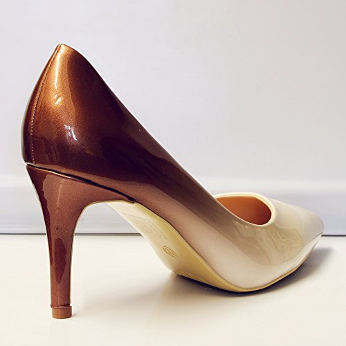 Rock on Styles Women Ladies Party Evening Two Tone Patent Mid High Heel Court Shoes Size - 6621 Beige suA18KgSo0