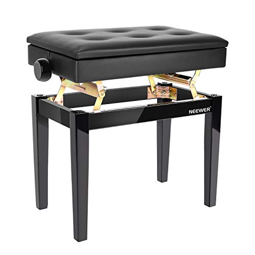 Why Should You Buy Neewer Adjustable Wooden Piano Bench Stool with Sheet Music Storage Black Solo Se...