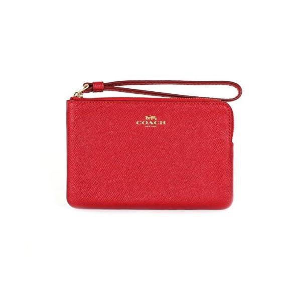 Coach Crossgrain Leather Corner Zip Wristlet True Red