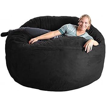 Superb Slacker Sack 6 Feet Foam Microsuede Beanbag Chair X Large Black Uwap Interior Chair Design Uwaporg