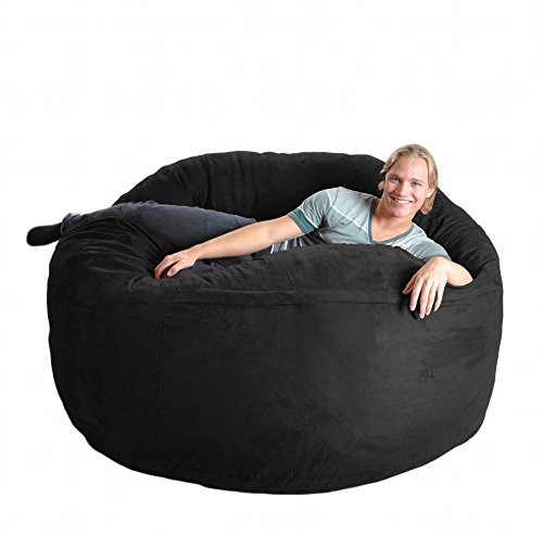 SLACKER sack 6-Feet Foam Microsuede Beanbag Chair, X-Large, Black