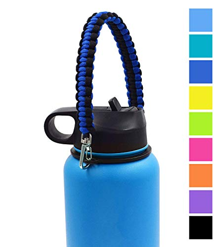 Flaskars #1 Best Handle for Hydro Flask Wide Mouth Bottle Paracord Carrier Fits Hydroflask 12oz - 64 oz Sports Water Bottle (Dark Blue/Black)