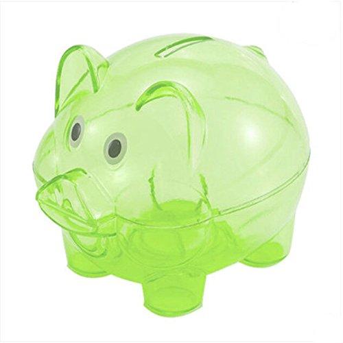 Cartoon Plastic Piggy Bank Coin Money Cash Saving Box For Kid,Green ()