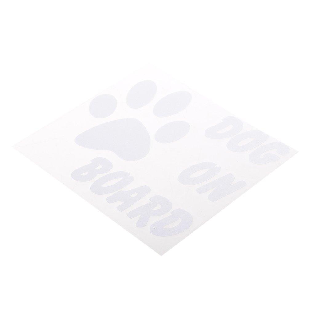 Homyl DOG ON BOARD Footprint Caution Warning Car Window Decal Vinyl Sticker - Black