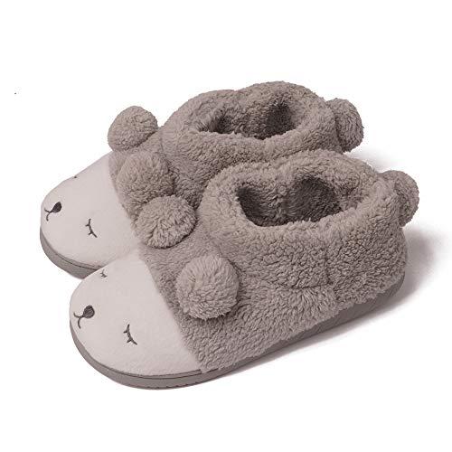 (GaraTia Warm Indoor Slippers for Women Fleece Plush Bedroom Winter Boots Grey High Top 11-12 M US)
