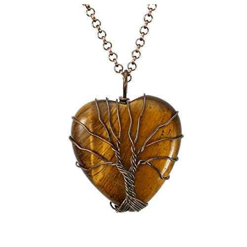 (Top Plaza Natural Tiger Eye Healing Crystals Necklace Bronze Tree of Life Wire Wrapped Stone Heart Pendant Necklaces Reiki Quartz Jewelry for Womens Girls Ladies)