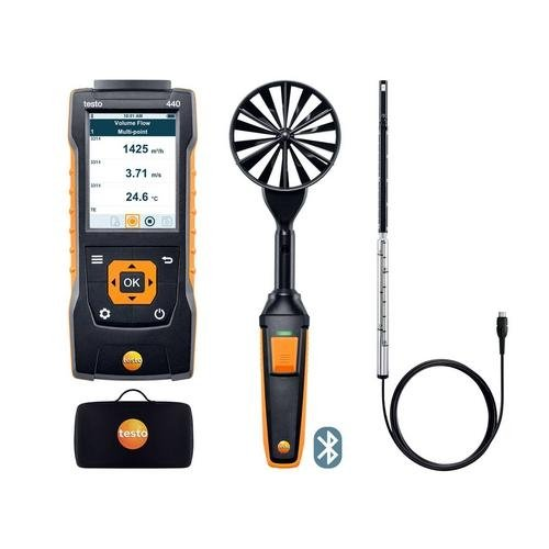 Testo 0563 4406, 440 Air Flow ComboKit 1 with Bluetooth, Vane and Hot Wire Probe, 1 Kit