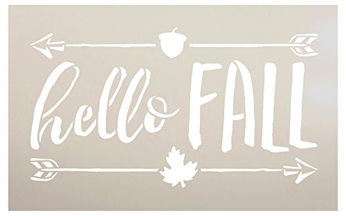 Hello Fall Stencil by StudioR12 | Shabby Chic Word Art - Mylar Template | Painting, Chalk, Mixed Media | Use for Journaling, DIY Home Decor -CHOOSE SIZE (8