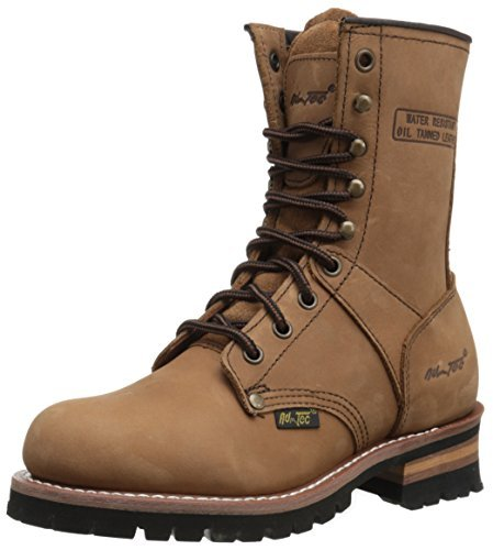 Adtec Women's 9 inch Logger BN Work Boot, Brown, 8 M (Toe Brown Logger Boots)