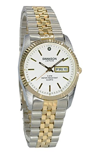 Swanson Japan Men's Two-Tone Day-Date Watch White Dial with Travel Case by Swanson Japan (Image #2)