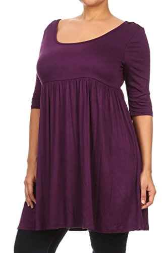 Knit Baby Doll Dress - PLUS Women's 3/4 Sleeve Empire Waist Baby doll Dress MAID IN USA (X-Large, Purple)