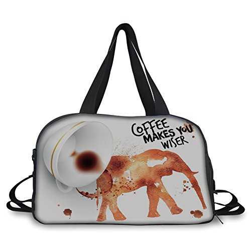 (Travel Handbag,Coffee Art,Drink Coffee and Be Wiser Concept with Elephant Espresso Stains,Burnt Sienna Black White ,Personalized)