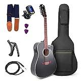 Best Acoustic Electric Guitars - Vangoa 41 Inch 12 Strings VGK41-12BKCE Black Acoustic Review